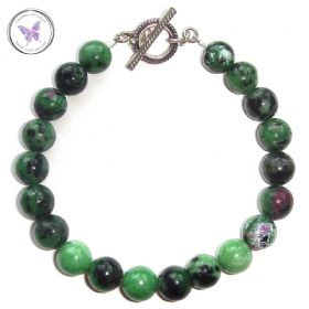 Anyolite - Ruby Zoisite - Healing Bracelet with Silver Toggle Clasp